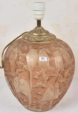 Rene Lalique Perruches Vase Lamp