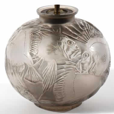 Rene Lalique Vase Lamp Poissons