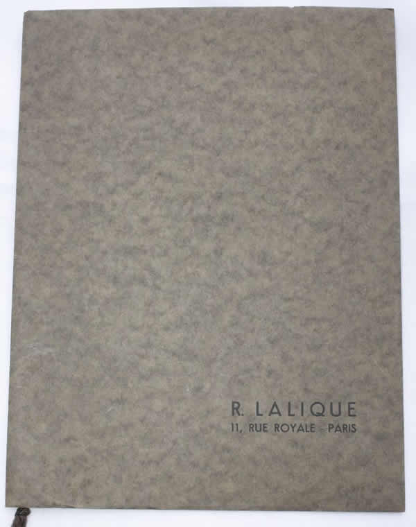 Rene Lalique R. Lalique 11 Rue Royale Paris Sales Booklet 1937-1938 Brochure