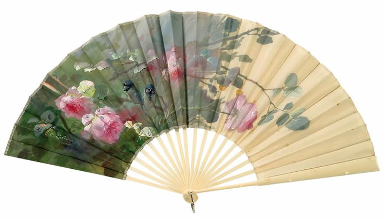 Rene Lalique Roses And Sparrows Fan
