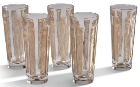 Rene Lalique Shot Glass Six Figurines