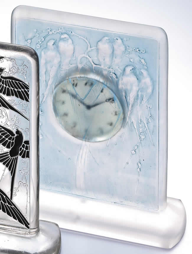 Rene Lalique Clock Six Hirondelles Perchees