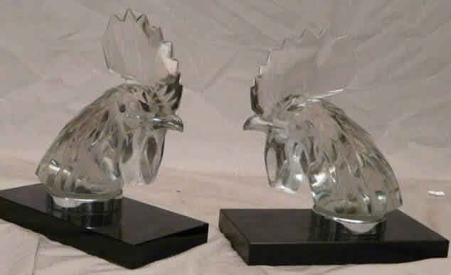 Rene Lalique Tete De Coq Bookend