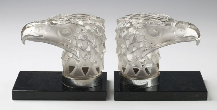 Rene Lalique Tete d'Aigle Bookend