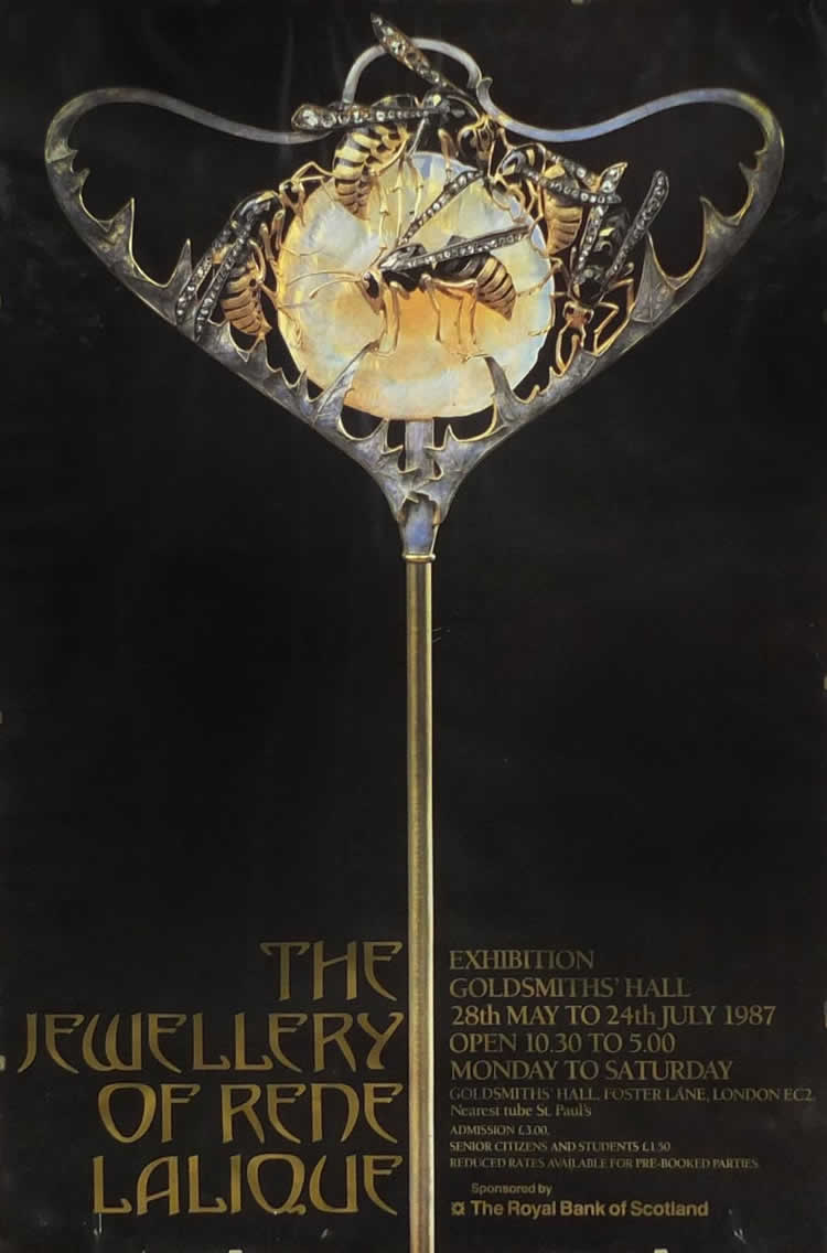 Rene Lalique The Jewellery of Rene Lalique Goldsmiths Hall Exhibition Poster