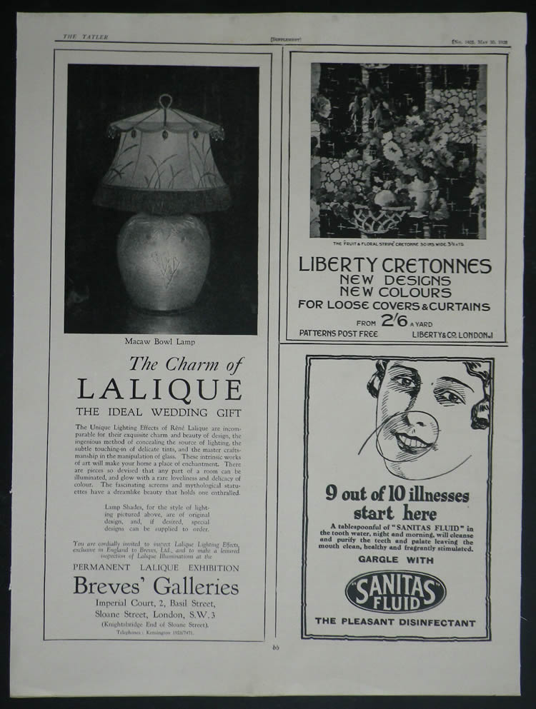 Rene Lalique Breves Galleries Tatler May 1928 Magazine Ad
