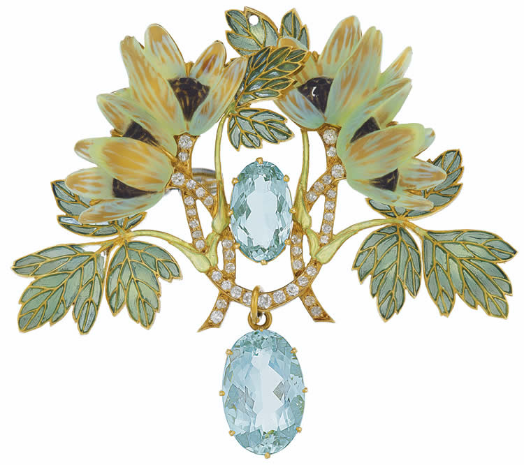 Rene Lalique Pendant Aquamarines And Flowers