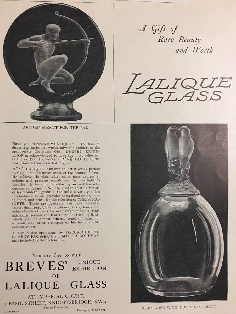 Rene Lalique Breves Galleries 1927 Magazine Ad