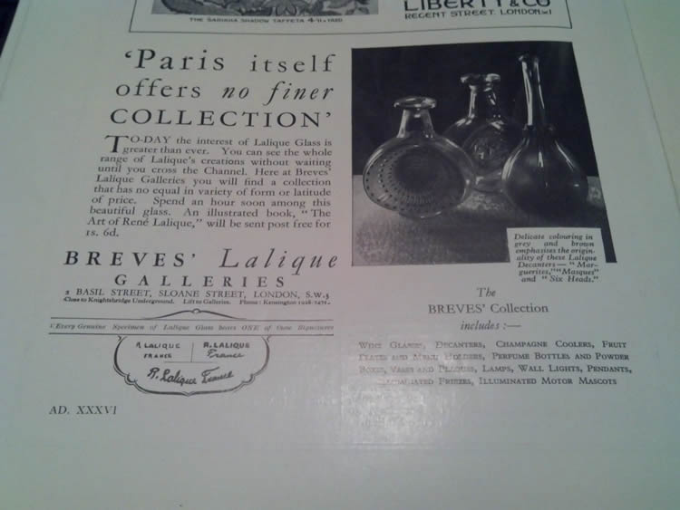 Rene Lalique Breves Galleries 1931 Magazine Ad