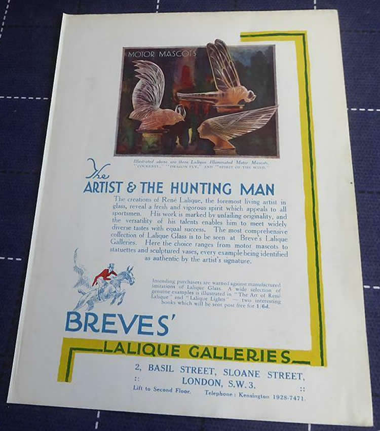 R. Lalique Breves Galleries Unknown Hunting Book 1931 Book Ad