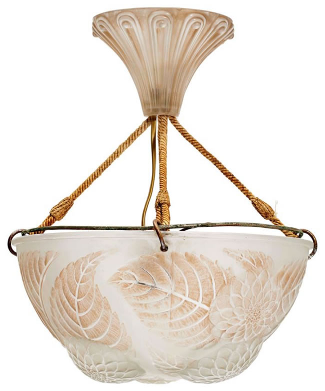 R. Lalique Dahlias Ceiling Lamp