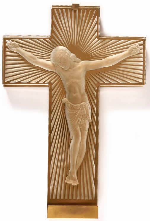 R. Lalique Jesus Christ on Cross Statue