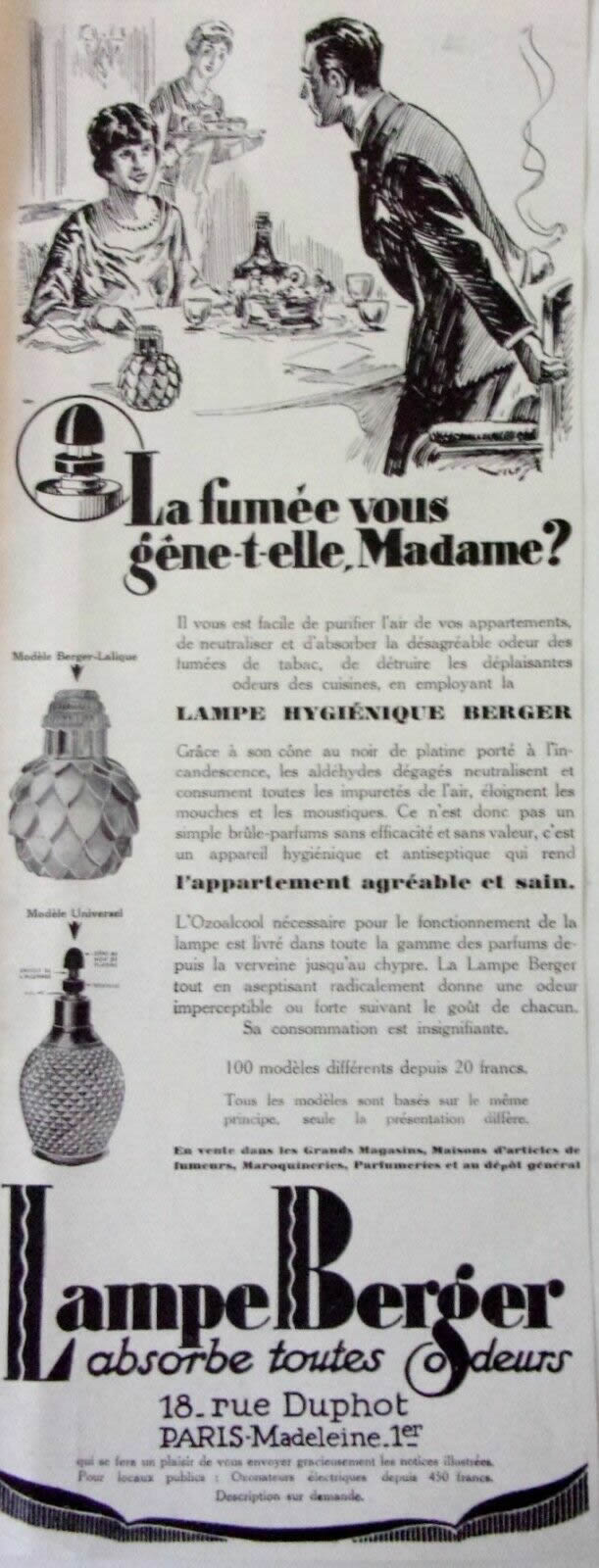 Rene Lalique Lampe Berger 1928 Advertisement