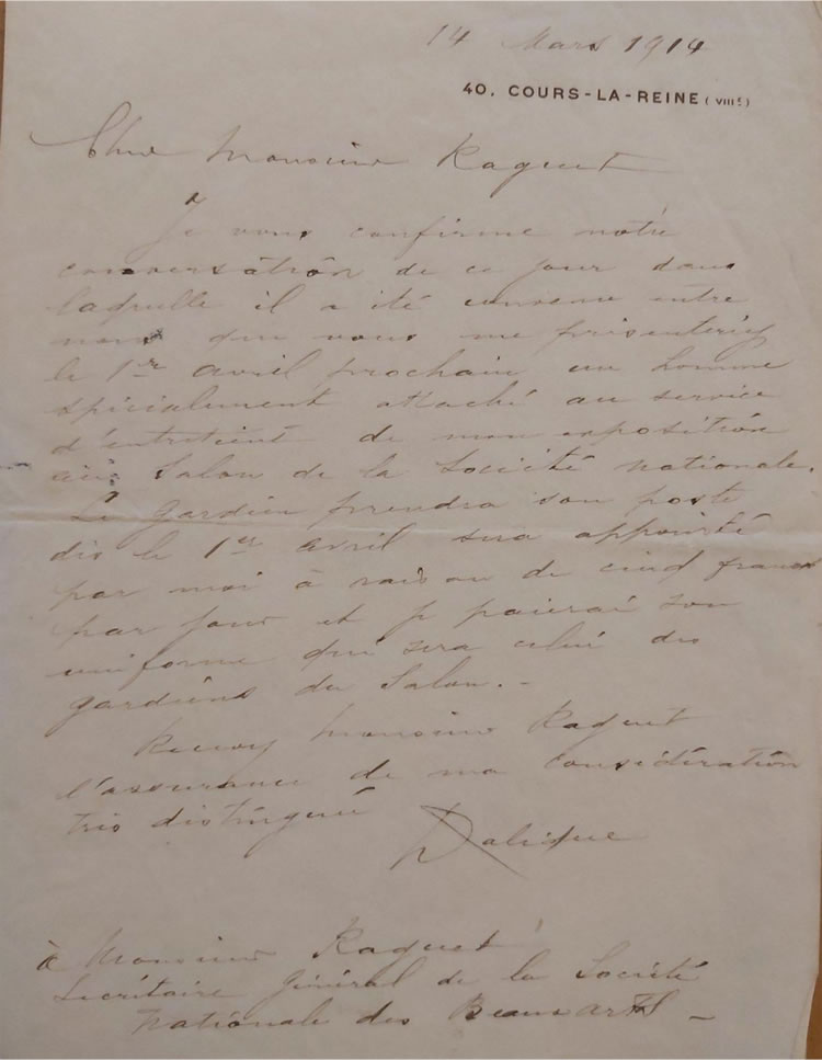 Rene Lalique To Eugene Raguet Societe Nationale des Beaux-Arts Letter