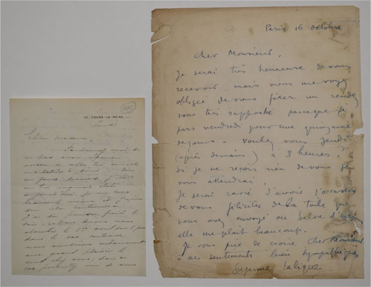 Rene Lalique To A Lady About Dinner and His Daughter Letter