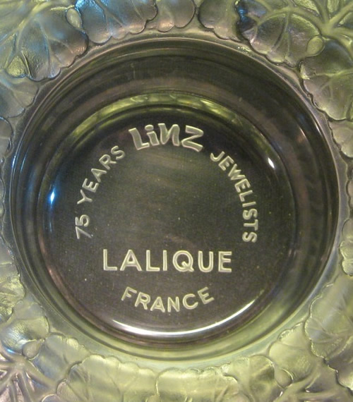 75 Years Linz Jewelists Lalique France Signature On A Honfluer Cendrier