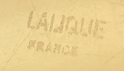 Lalique France Block Capital Letters Stenciled Signature Example No. 1