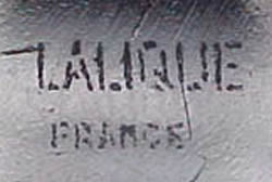 Lalique France Block Capital Letters Stenciled Signature Example No. 6