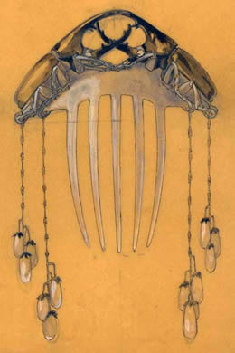 Rene Lalique Drawing of a Hair Comb with Beetles and Pearls
