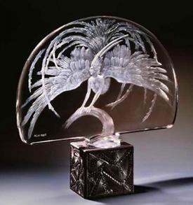 Rene Lalique Centerpeice Oiseau De Fue Signed R.Lalique