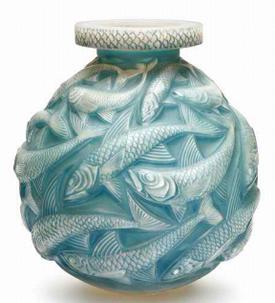 Rene Lalique Vase Salmonides Signed R.Lalique