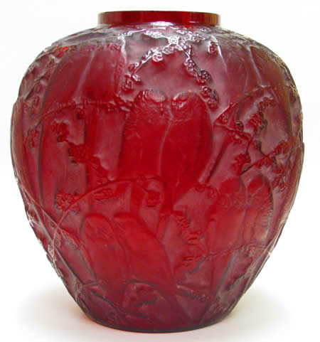 Rene Lalique Vase Perruches in Red Glass