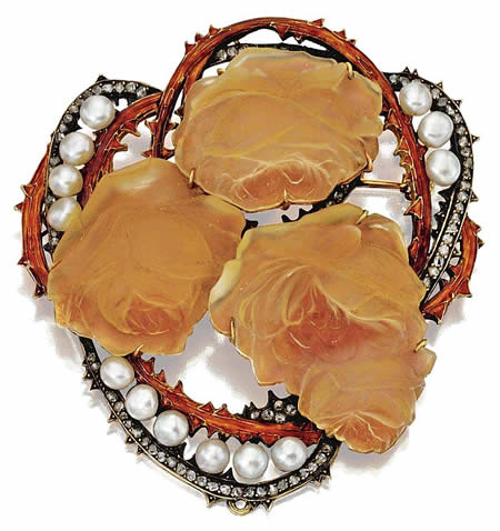 Rene Lalique Jewelry Brooch Roses