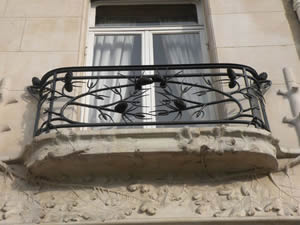 Lalique House In Paris: Pinecone and Branches Balcony Railing