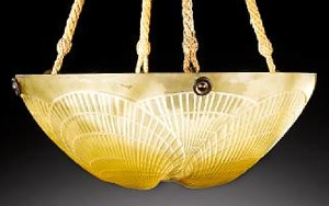 Rene Lalique Coquilles Amber Light Fixture