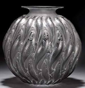 Rene Lalique Vase Marisa in Gray Glass