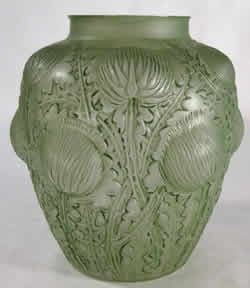 Rene Lalique Domremy Vase Missing Part of Rim from Dounial Renaissance Antiques Iowa