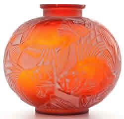 Rene Lalique Poissons Red Vase