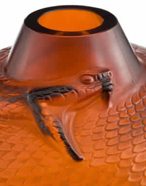 Rene Lalique Vase Serpent in Amber Glass