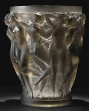 Rene Lalique Bacchantes Vase In Gray Glass