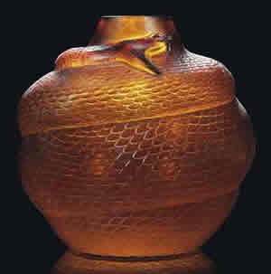 Rene Lalique Serpent Vase in Dark Amber Glass