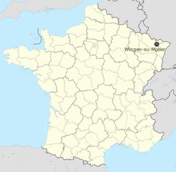 Wingen-sur-Moder Located on Map of France
