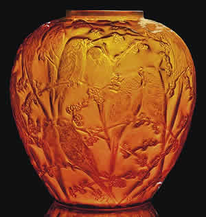 Rene Lalique Perruches Vase In Dark Amber Glass