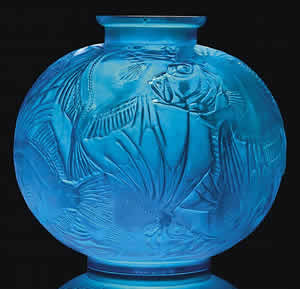 Rene Lalique Poissons Vase In Electric Blue Glass