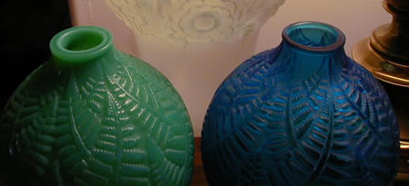 Rene Lalique Espalion Vase Pair In Blue Glass And Cased Green Opalescent Glass