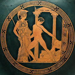 Theseus: Greek Mythological Hero Said To Be The Inventor Of Wrestling Is Shown In The Center Of The Photo