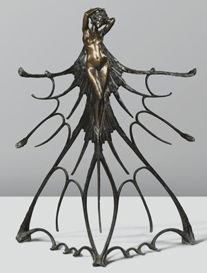 Rene Lalique Femme Ailee Balustrade Cire Perdue Bronze From the 1900 Paris Exhibition