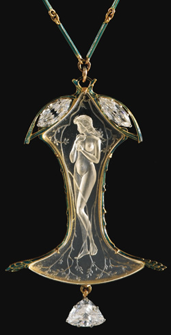 Rene Lalique Nude Nymphe Amongst Branches Pendant And Comporting Chain