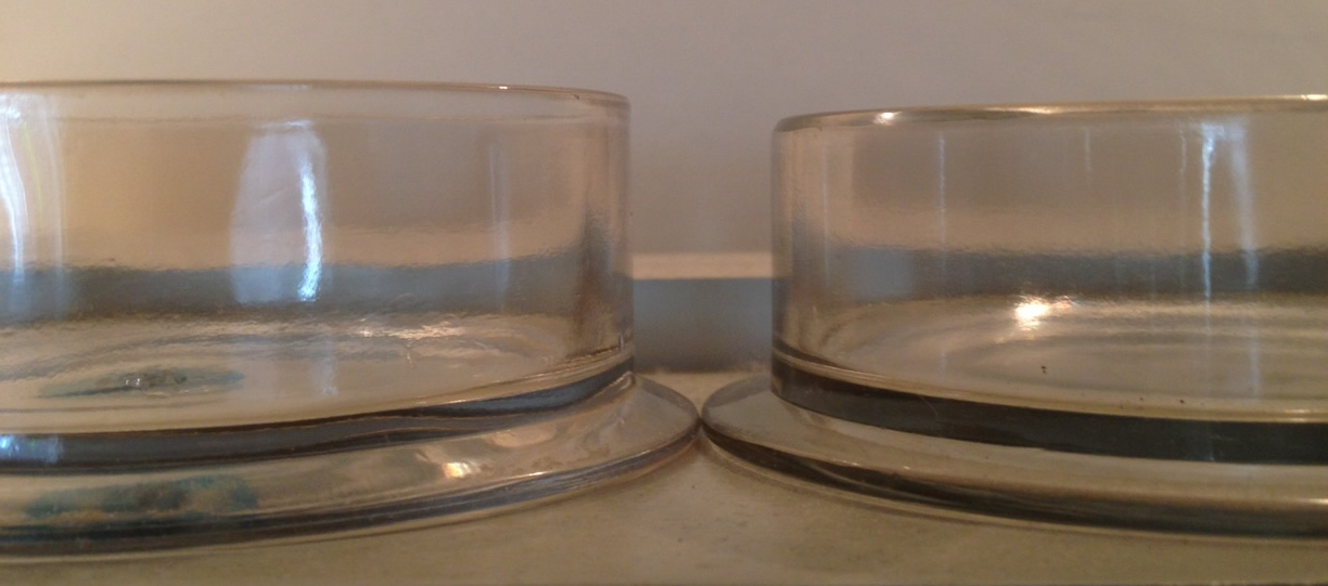 Rene Lalique Gui and Genevieve Box Bottoms: Gui on Right and Shorter
