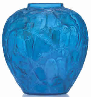 Rene Lalique Blue Perruches Vase