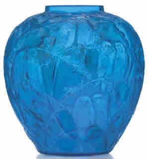 Rene Lalique Blue Perruches Vase