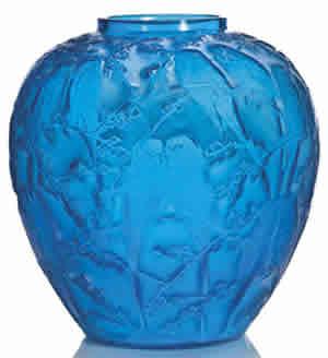 Rene Lalique Blue Glass Perruches Vase