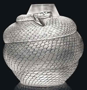 Rene Lalique Serpent Vase In Frosted Glass