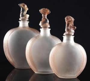 Myosotis Garniture De Toilette Perfume Bottles - All Three Sizes - Rene Lalique
