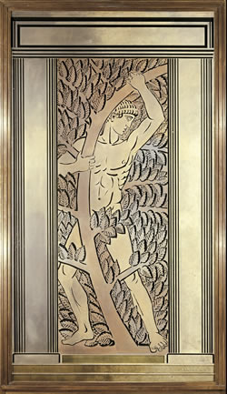 Athlete Et Feuillages Panel For The Wanamaker Store In Philadelphia 1932 By Rene Lalique