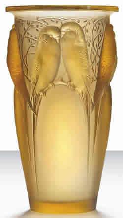 Ceylan Vase Rene Lalique Yellow Amber Eight Birds Motif Glass